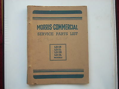 MORRIS COMMERCIAL parts list for the LD1 LD2 1954