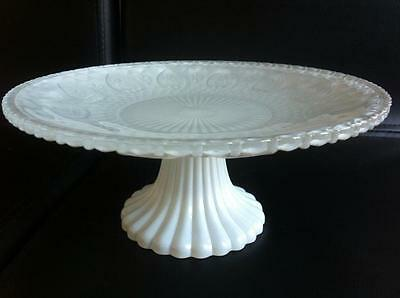 Engraved Glass Pedestal Cup Cake Wedding Party Serving White Plate Stand 23Cm