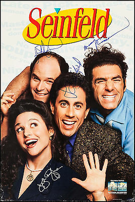 """Cast Signed Autographed Poster Seinfeld 1996 24""""x36"""" VF 7.5"""