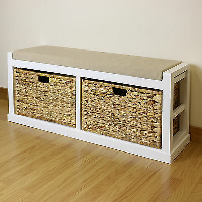 White Twin Seat Hallway/Home Shoe Storage Bench Foam & Wicker Cushion/2 Baskets