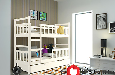 Bunk Beds For Kids Childrens With Mattresses Wooden Solid Pine 3ft Trundle W8