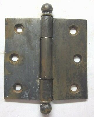 "1 Rare Antique 3-1/8""X3 Raw Steel Mortise Door Hinge Ball Tip Finial 3 Barrel"