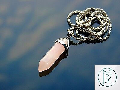 Rose Quartz Crystal Point Pendant Natural Gemstone Necklace Healing Stone Chakra