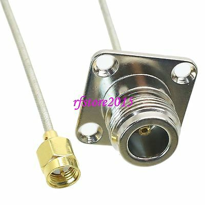 Cable RG405 6inch N female jack Flange to SMA male plug RF Pigtail Jumper