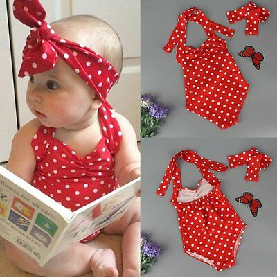 Kids Baby Girls Swimwear Polka Dot Tankini One-pieces Swimsuit Headband Costume