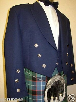 "Scottish Prince Charlie Kilt Jacket With Waistcoat/Vest Size 30"" to 60"" Navy"