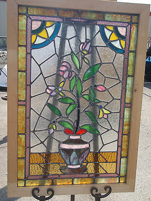 "Sale!!  Antique Stained Glass Window fully restore w wood frame 33.3/4"" X 23.1/4"