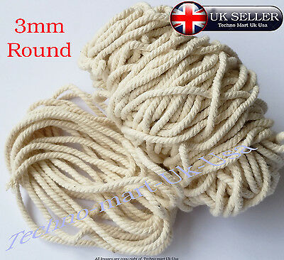 3mm 100% Pure Natural Cotton Rope 3Strand Braided Twisted craft Cord Twine Sash