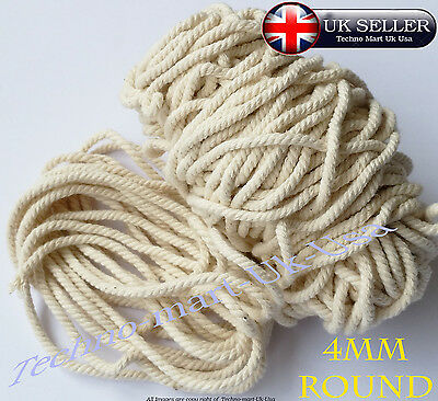 100% Pure Natural Cotton Rope 3Strand Braided Twisted craft Cord Twine Sash 4mm