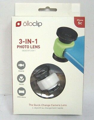 Olloclip 3-In-1 IPhone 5c Photo Lens - Retail Packaging - White Brand New