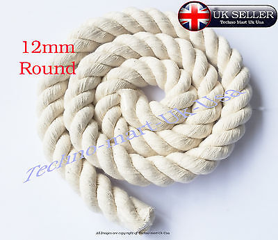 12mm 100%Pure Natural Cotton Rope 3Strand Braided Twisted Craft Cord Sash Twine
