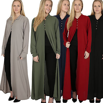 womens ladies 5 buttons front split long sleeve Jalabiya abaya kaftan maxi dress