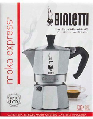 Bialetti Moka Express 3 Cup Espresso Maker New Stovetop Coffee Brewer from Italy