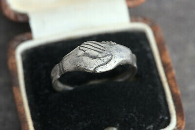 AMAZING GENUINE MEDIEVAL 15th CENTURY ANTIQUE SILVER FEDE CLASPED HANDSHAKE RING