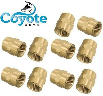 "10 Pack of 1/8"" FNPT NPT Pipe Thread Female Hex Coupler Union Brass Fittings"