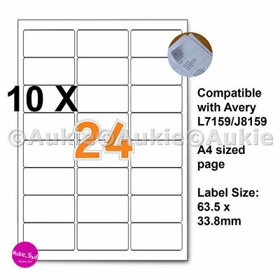 240 X Avery Compatible L7159/J8159  63.5x33.8mm Mailing Address Labels Laser/Ink