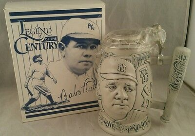 Babe Ruth Legend Of The Century Stein Avon 1999 Collectible Cooperstown Baseball
