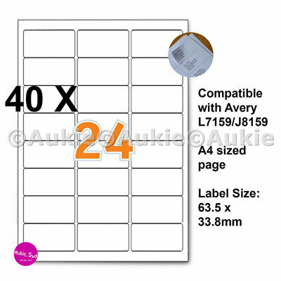 960 X Avery Compatible L7159/J8159  63.5x33.8mm Mailing Address Labels Laser/Ink