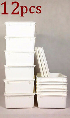 12x 5L Plastic Food Storage Box Container Cereal Rice Box White Home Motel #0950