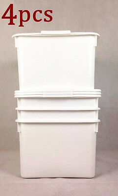 4x 20L Plastic Food Storage Box Container Cereal Rice Box White Home Motel #4897