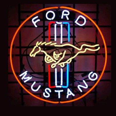 """17""""x14"""" Ford Mustang Real Glass Neon Light Sign Beer Bar Pub Club Store Display"""