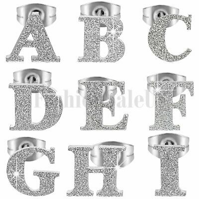 Charm Simple Frosted Stainless Steel Alphabet Letter Initial Ear Stud Earrings