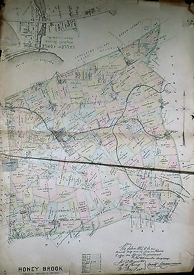 Honey Brook Township Chester County 1883 Map Color Genuine Antique Cambridge Pa.