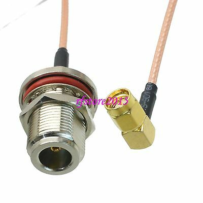 Cable RG316 N female jack bulkhead to SMA male plug 90° RF Pigtail Jumper