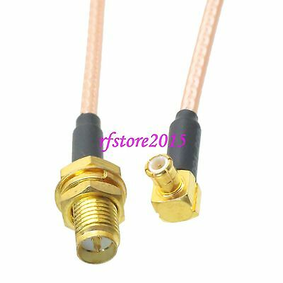Cable RG316 RP-SMA female jack bulkhead to MCX male plug 90° RF Pigtail Jumper