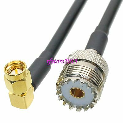 Cable RG58 UHF SO239 female jack to SMA male plug 90° RF Pigtail Jumper