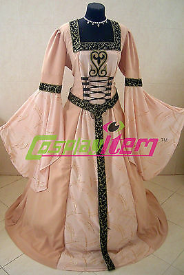 Renaissance Medieval Style TUDOR Wedding Dress Gown Halloween Carnival Costume