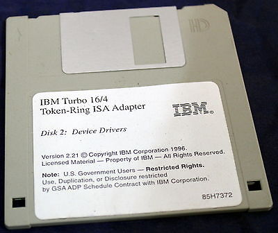 "Ibm Turbo 16/4 Token-Ring Isa Adapter Disk 2: Device Drivers 3.25"" Fdd 85H7323"