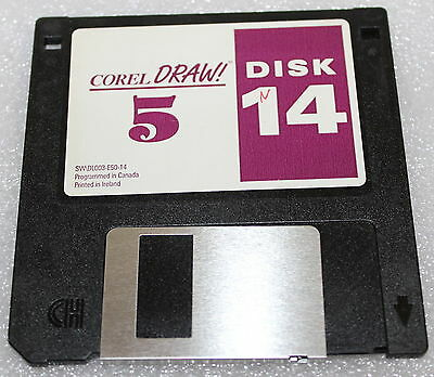 "Corel Draw! 5 Floppy Disk 3.5""  Install Disk Number 14 Only Swdl003-E50-14"