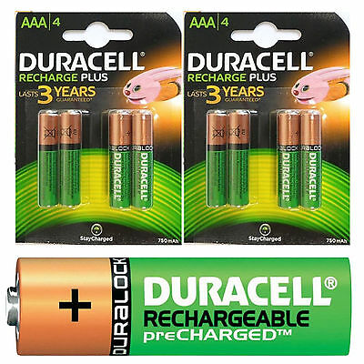 8 x Duracell AAA 750mAh PRE/STAY CHARGED Rechargeable Batteries HR03 DC2400 750