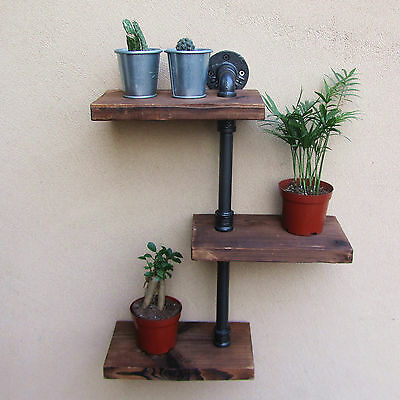 Industrial Rustic Style Urban Wall Mount Iron Pipe Wooden Shelf 3 Tiers Shelving