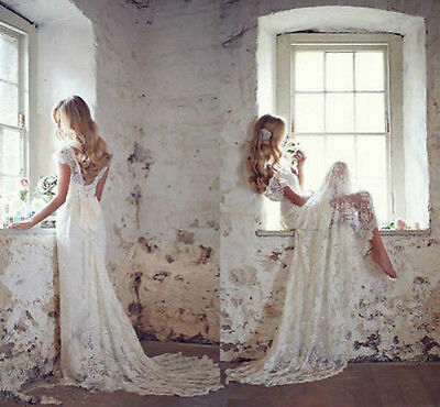 New Ivory White Lace Bridal Gown Wedding Dress Custom Size 6 8 10 12 14 16 ++