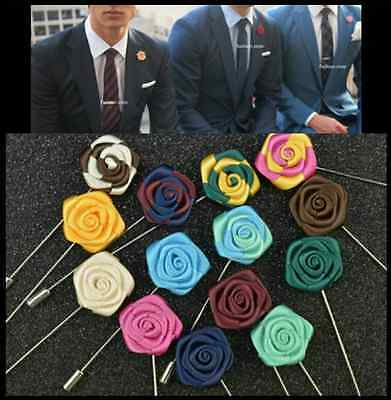 NEW Men's Corsage Boutonniere Brooch Lapel Pin Silk Mini Rose Flower Wedding