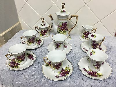 Vintage White With Floral Fine Porcelain Tea Set 17 Pieces
