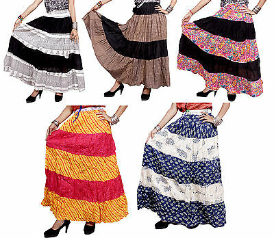 5pcs-100pcs Patchwork Cotton Long Skirts Gypsy Women's Clothing Wholesale Lot