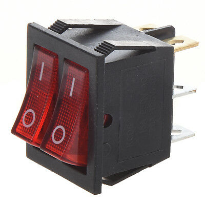 K609 Red Light IllumInated 6 Pin Dual SPST ON/OFF Boat Rocker Switch AC 15A/2