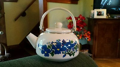 White Baked Enamel Tea Kettle With Floral Pattern
