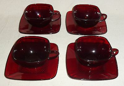 Anchor Hocking Four Ruby Red Charm Cups & Saucers