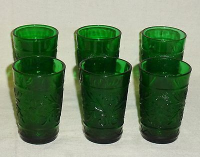 """Anchor Hocking Forest Green Sandwich Six Juice Glasses (3 1/2"""")"""
