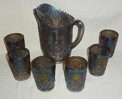 Imperial Carnival Glass Smoke Windmill Pitcher & Six Tumblers