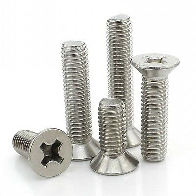 M3*5mm-50mm 316 A4 Stainless Steel Countersunk Flat Head Phillips Machine Screws