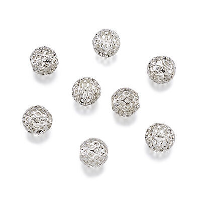 10pcs Antique Silver Tone Rondelle Hollow Brass Large Hole European Beads 10x8mm