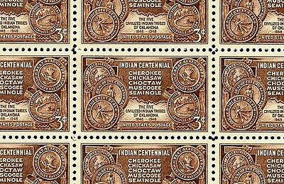 1948 - INDIAN CENTENNIAL - #972 Full Mint -MNH- Sheet of 50 Postage Stamps