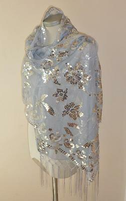Beautiful Gold or Silver Evening Wrap Scarf with Sequin Flower Detail & Tassels