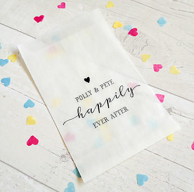 10x personalised 'Happily Ever After' confetti bags for wedding, party, favours