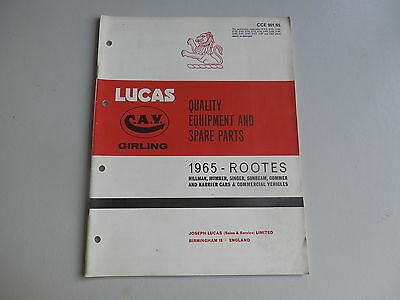 LUCAS Parts List 1965  HILLMAN HUMBER SINGER SUNBEAM COMMER KARRIER Rootes